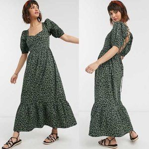 ASOS Leopard Print Tiered Maxi Dress in Green 4